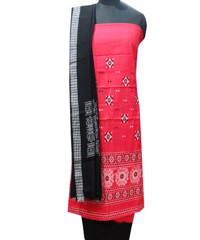 Beautiful Traditional Blush And Black tie And dye Cotton Bomkai Dress Material