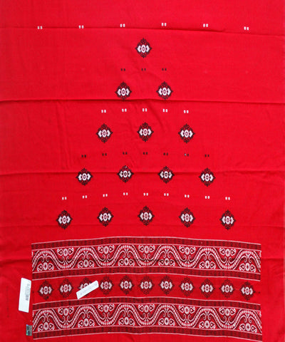 Beautiful Traditional Dark Red And Black tie And dye Cotton Bomkai Dress Material