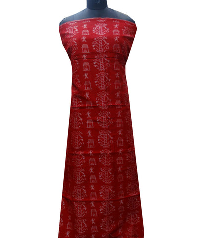 Red cotton Dress Material