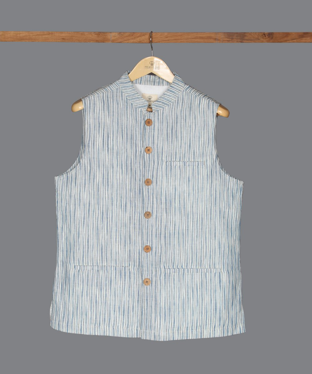 Blue and white ikat cotton linen nehru jacket