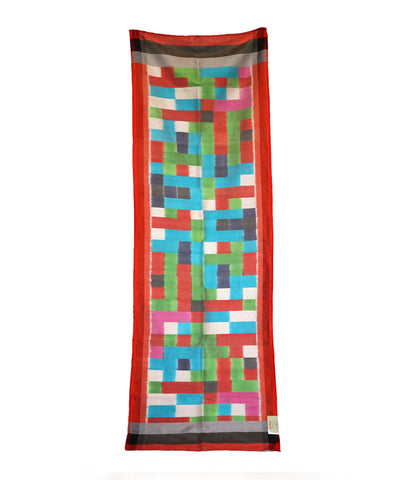 ABSTRACT MULTICOLOR handloom ikat silk Stole