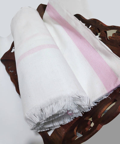 Pink and white Handwoven cotton towel