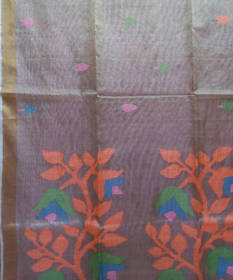Light Mauve Handloom Tussar Silk Bengal Saree