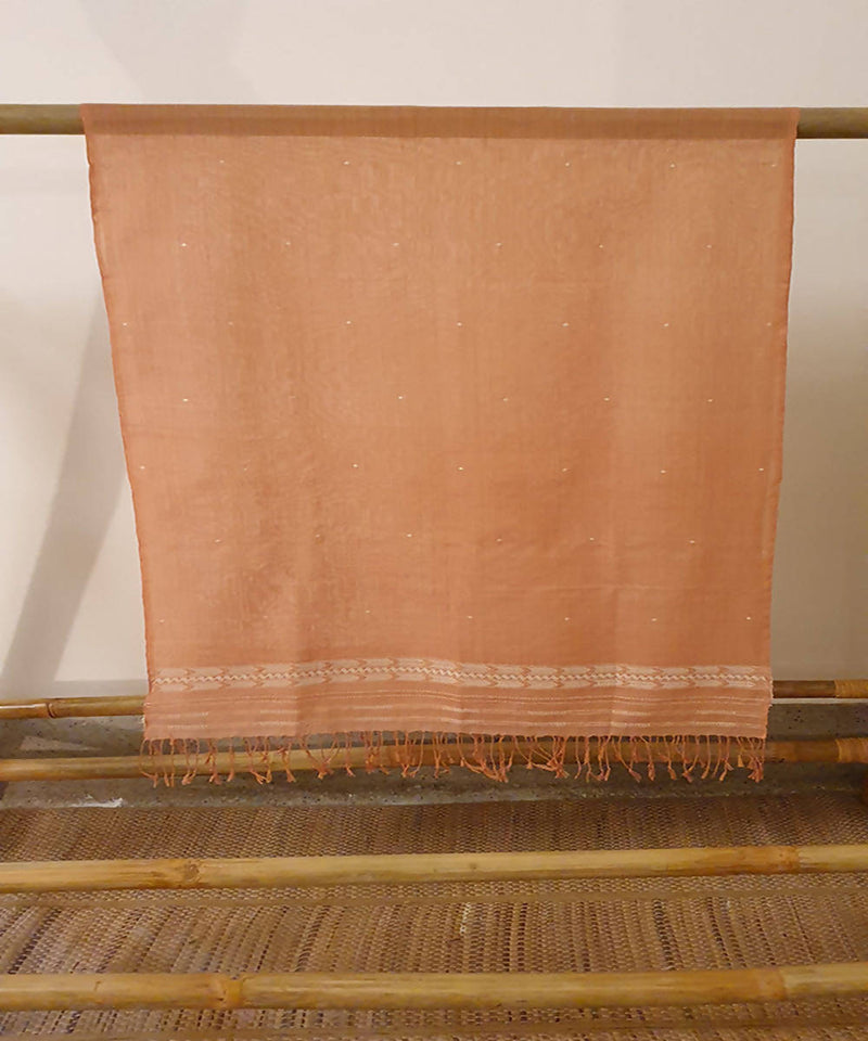 Brown and rust assam handloom cotton stole