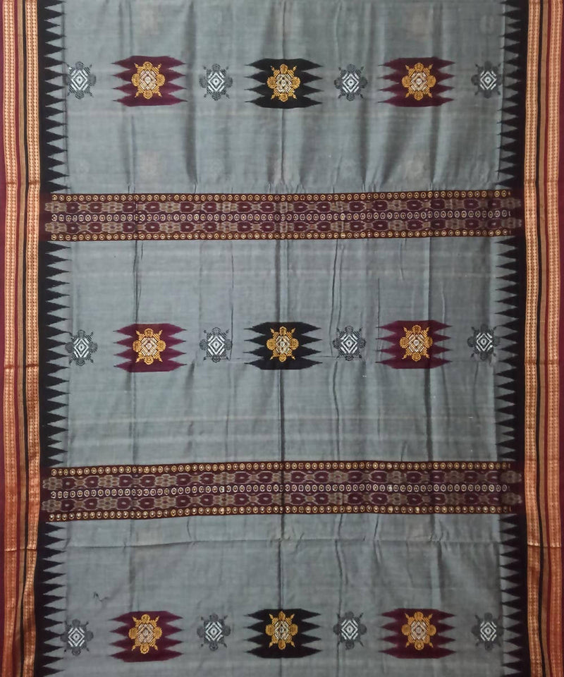 Grey Deep Maroon Bomkai Cotton Ikat Saree