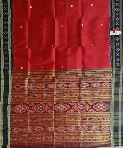 Red Handloom Khandua Ikat Silk Saree