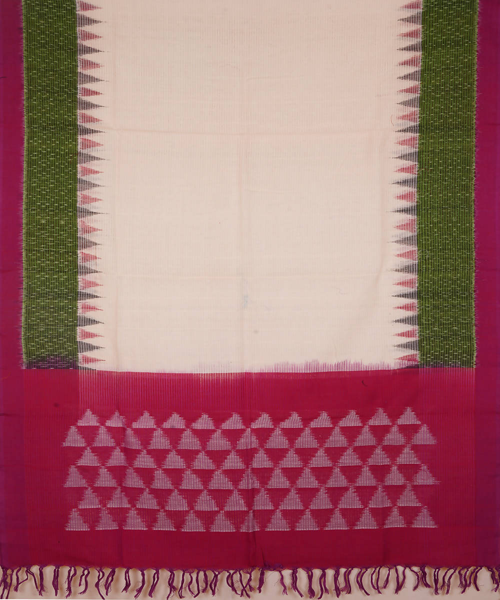White with green and pink Handwoven Pochampally ikat cotton Dupatta