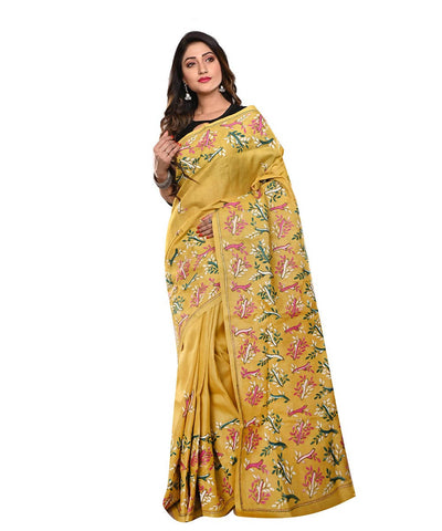 Yellow Handloom Tussar Kantha Stitch Saree