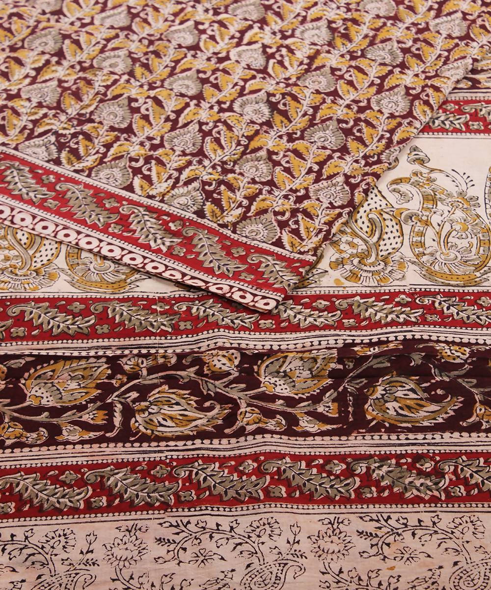 Hand block multicolour kalamkari cotton saree