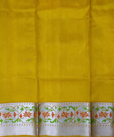 Yellow venkatagiri handwoven silk saree