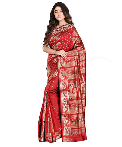 Bengal Handloom Dark Red Baluchari Silk Saree