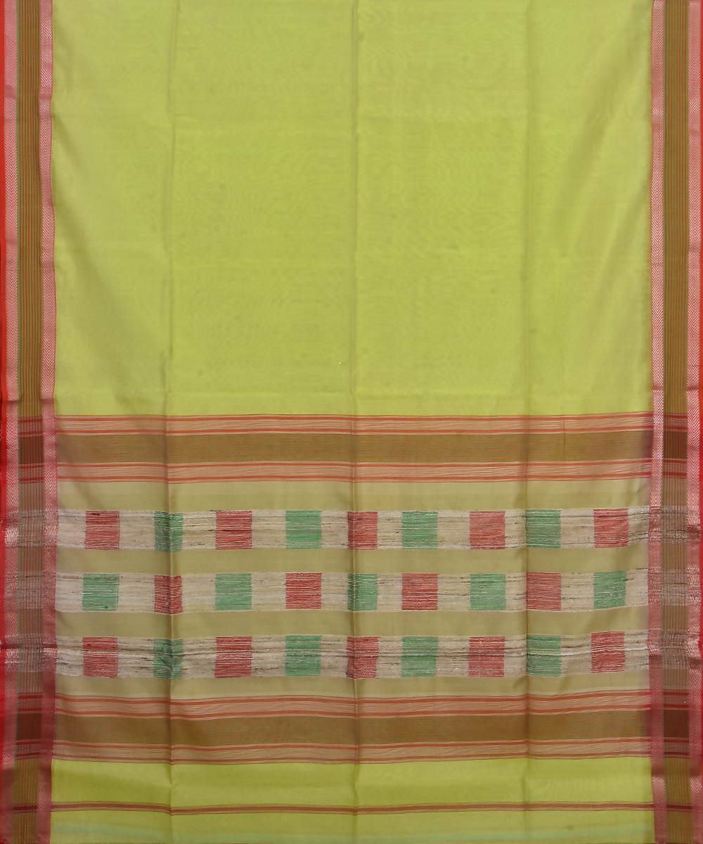 Handloom Lemon Yellow Maheshwari Sico Saree