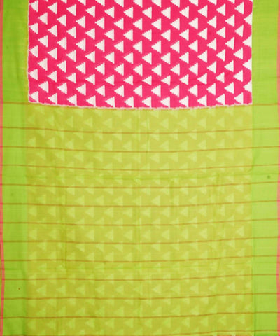 Handloom Pink Green Pochampally Cotton Saree