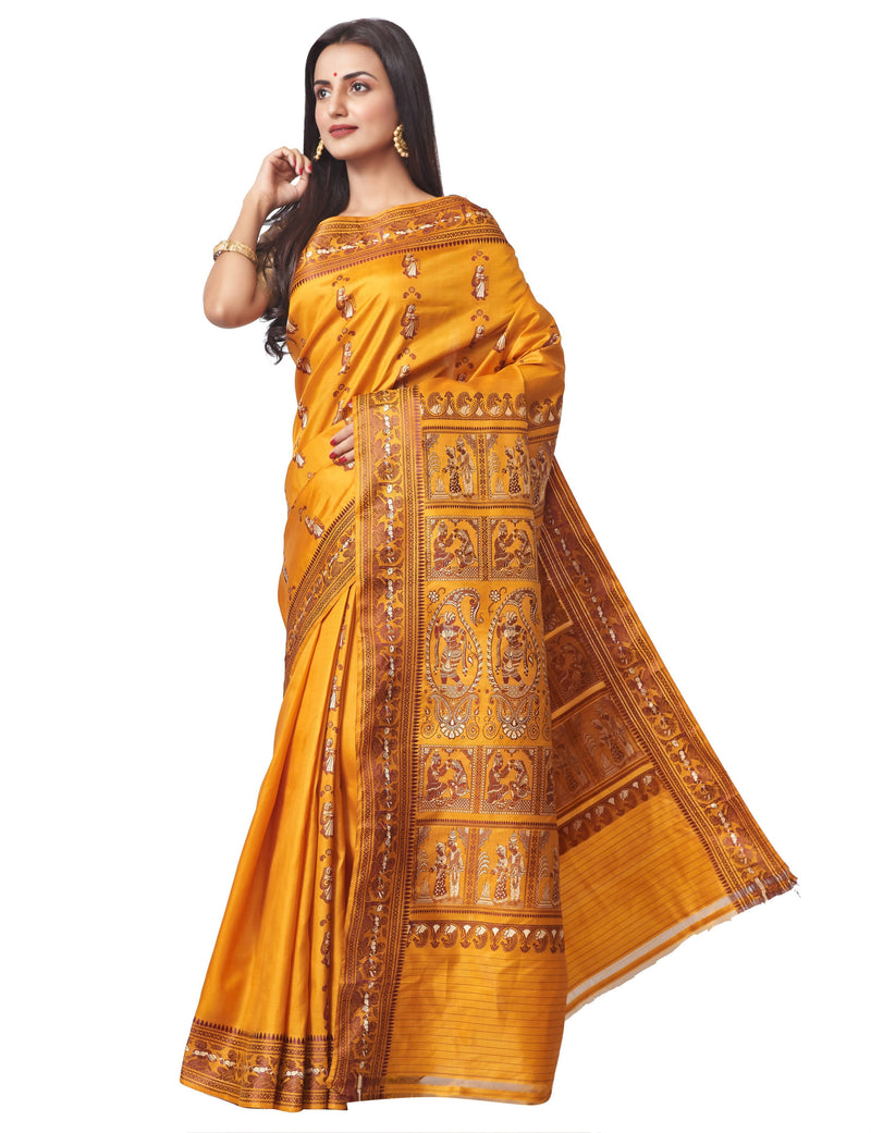Biswa Bangla Handloom Baluchari Silk Saree with Meena Work in Mustard Yellow