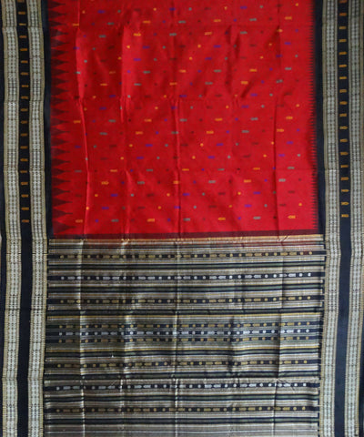 Red tussar Silk Handwoven Saree