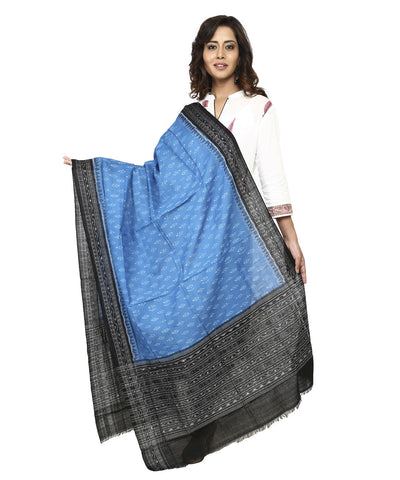 Handwoven Sambalpuri Cotton Dupatta in Dodger Blue and Black