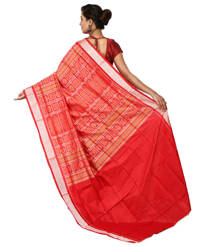 Handwoven Violet and Red Bomkai Silk Saree