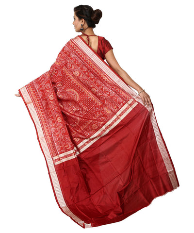 Handwoven Black and Red Sambalpuri Ikat Saree
