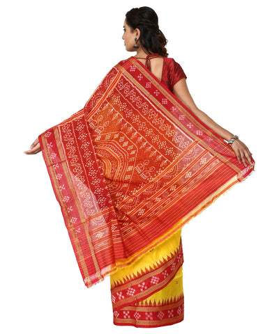 Handwoven Khandua Silk Saree of Nuapatna in Yellow and Maroon