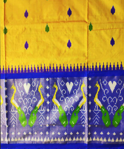 Yellow and navy handloom pochampally ikat silk saree