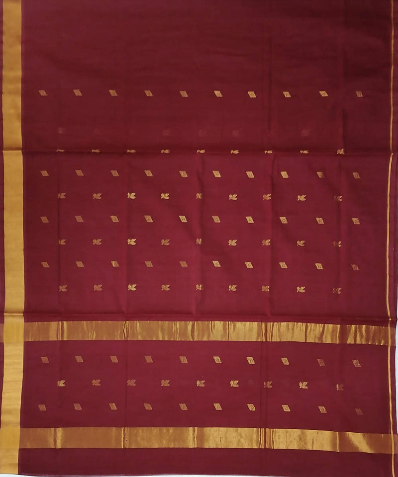 Brown with butta handwoven venkatagiri cotton saree