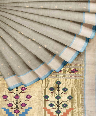 Light Grey Handloom Paithani Cotton Saree