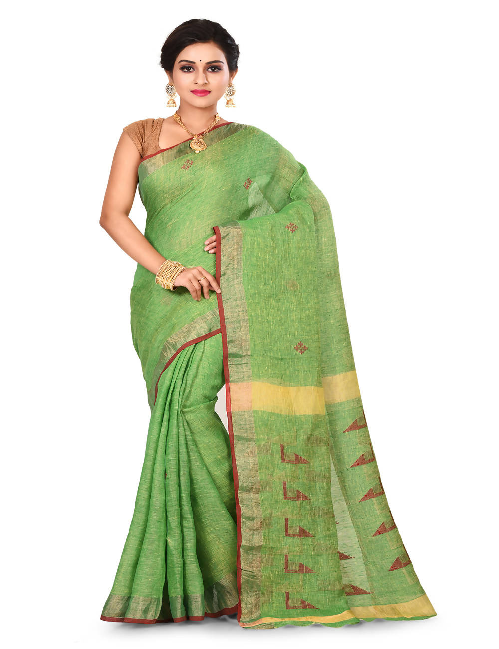 Light green Bengal zari Jamdani Handloom Linen saree