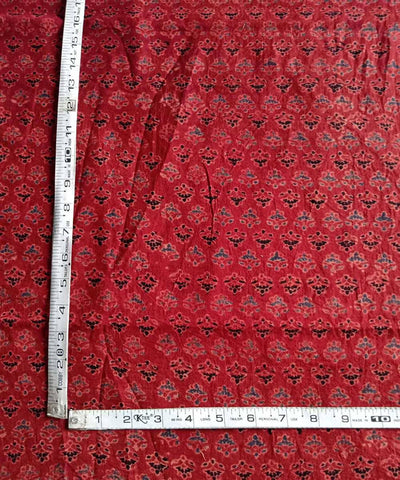 Red natural dye ajrakh block printed handspun handloom cotton fabric