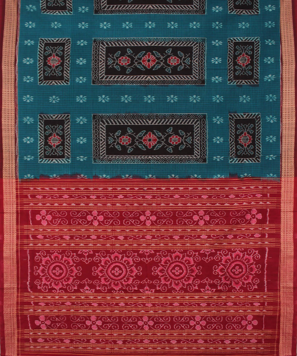 Sambalpuri Teal Maroon Handloom Cotton Saree