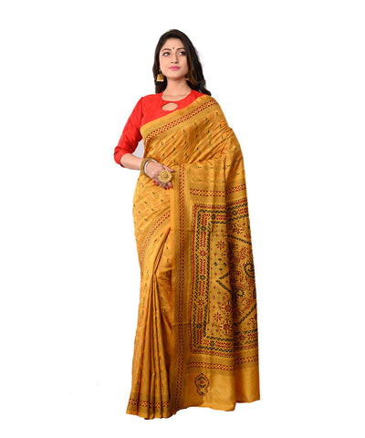 Bengal Handloom Yellow Kantha Stitch Saree