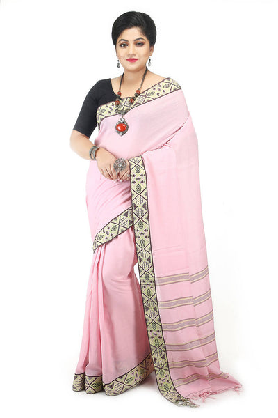 Handwoven bengal light pink cotton saree