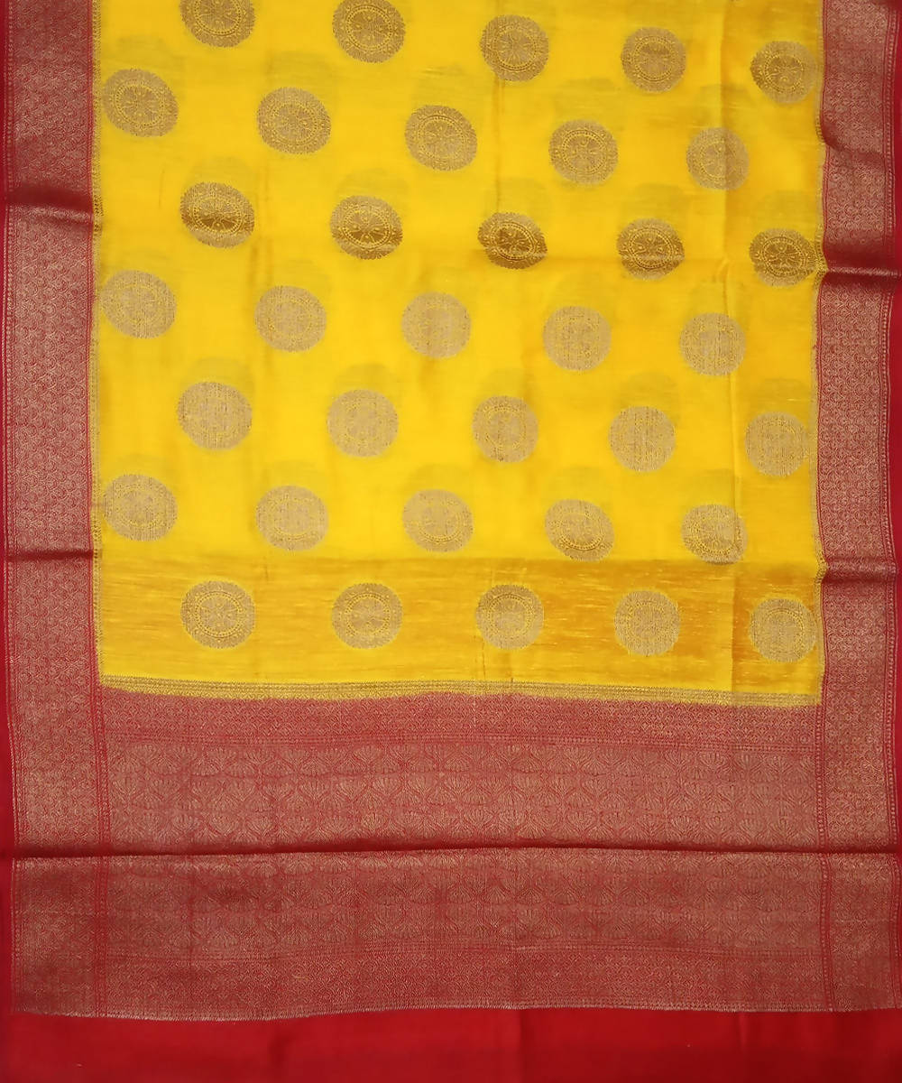 Banarasi Yellow and Red Handwoven Silk Saree