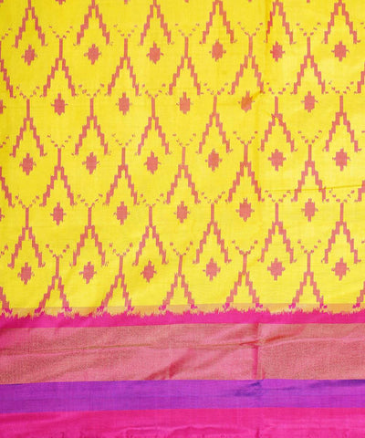Yellow pink handloom ikat silk saree