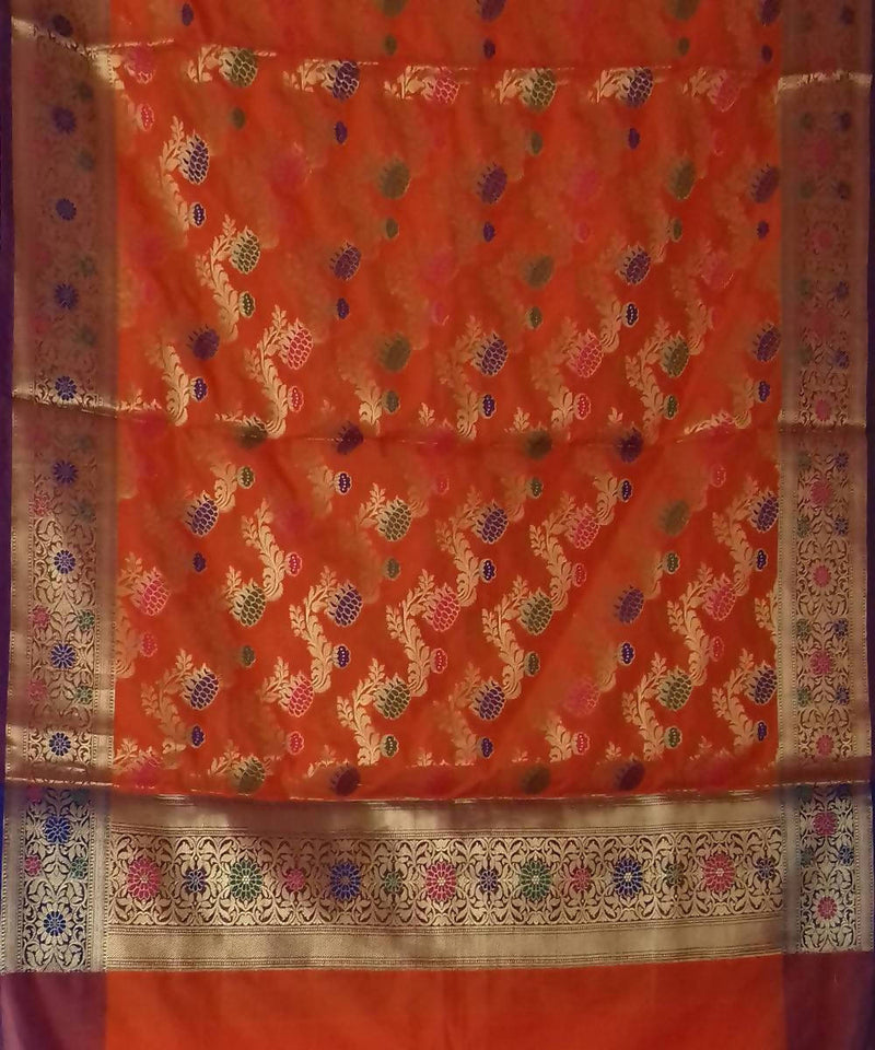 Orange Handwoven Banarasi silk Dupatta