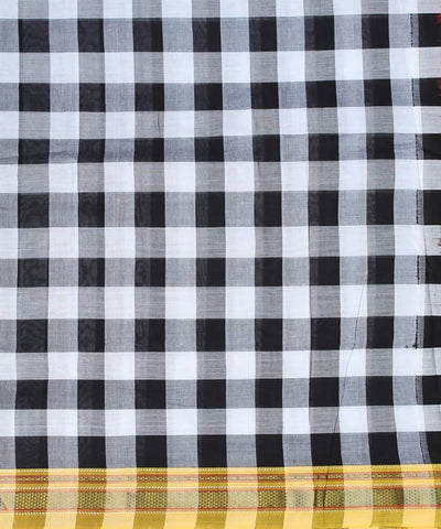 White black checks handwoven chikki paras yellow border ilkal saree