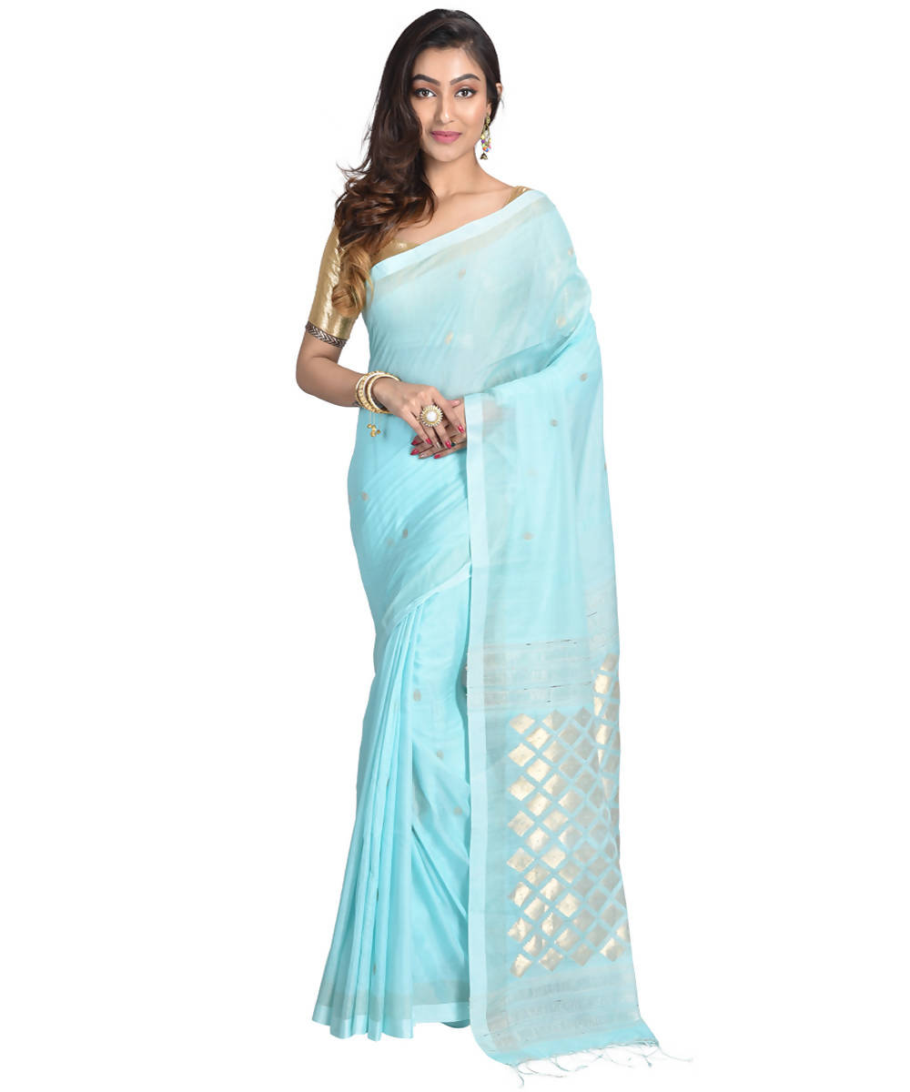 Light sky blue handwoven bengal cotton silk saree