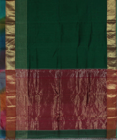 Green Maheshwari Handloom Cotton Silk Saree