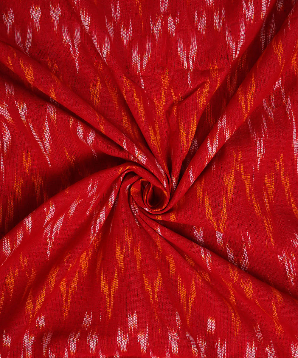 Handloom Red Yellow Pochampally Ikkat Fabric