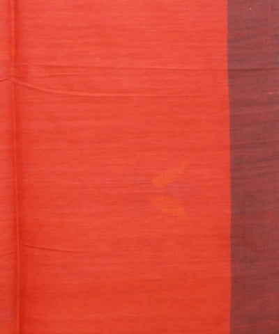 Red Handloom Handspun Cotton Saree