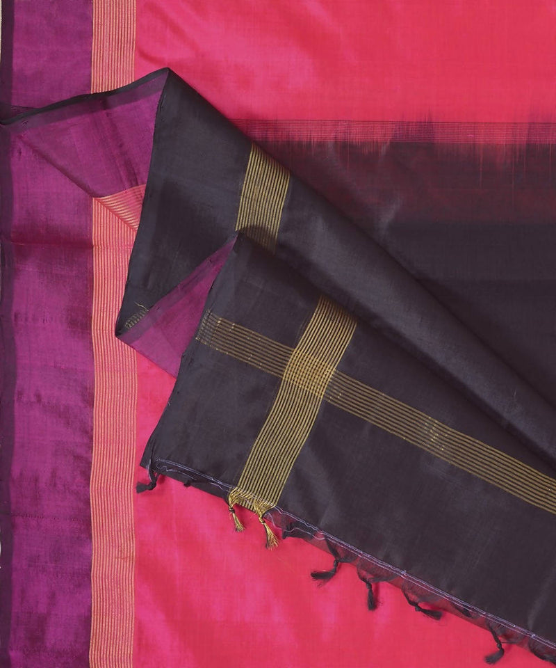 Pink and black kanjivaram silk cotton saree