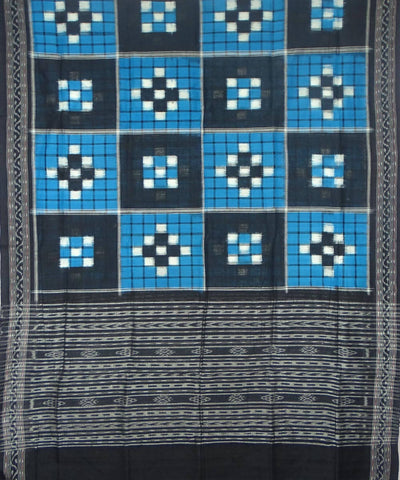 Blue Black Handwoven Bichitrapuri Ikat Dupatta