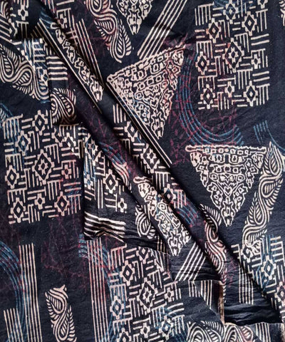 Black brown natural dye ajrakh block print handwoven cotton fabric