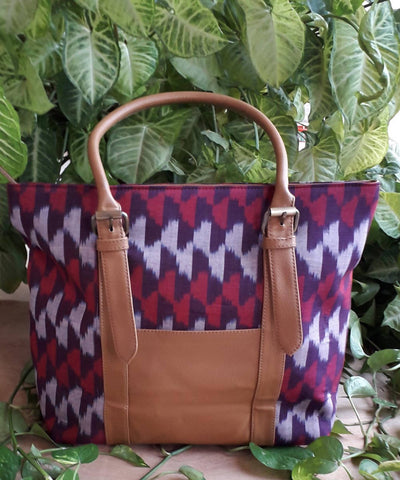 Ombre handwoven cotton ikkat handcrafted tote bag