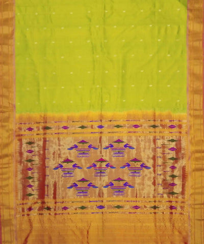 Lime Green Handloom Paithani Silk Saree