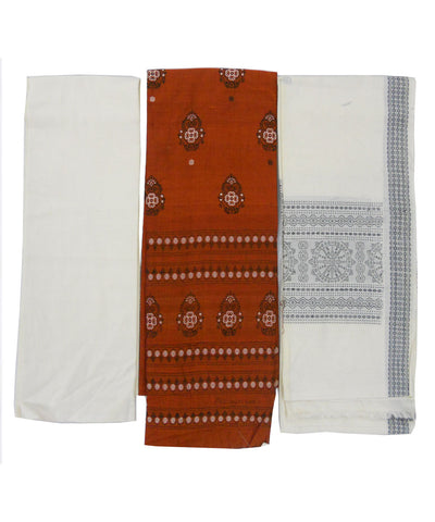 Orange and Off White Sonepur Cotton Suit Piece