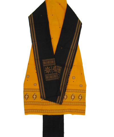 Yellow and Black Sonepur Cotton Suit Piece
