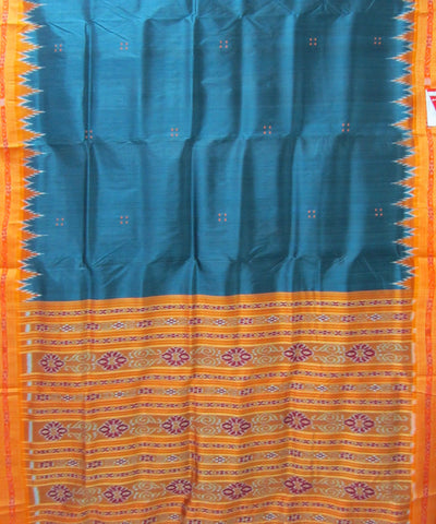 Nuapatna Dark Teal and Orange Khandua Silk