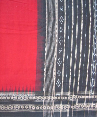 Traditional Red and Black Cotton Saree
