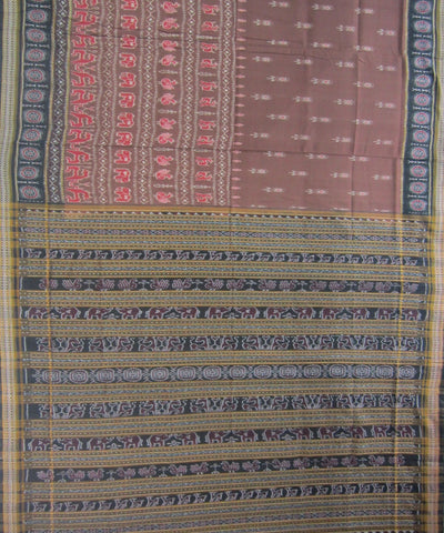 Traditional Brown Cotton Saree