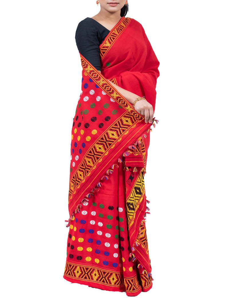 Red Cotton Handloom Mekhela Chador